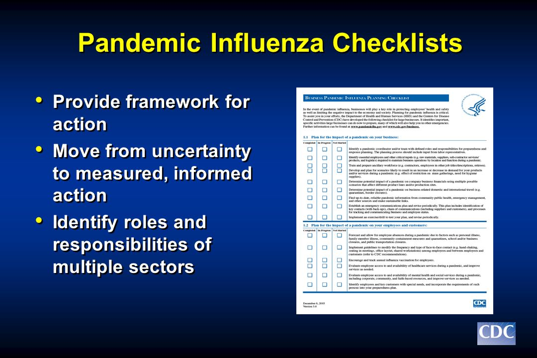 Pandemic Influenza Checklists Provide framework for action Move from uncertainty to measured, informed action Identify roles and responsibilities of m