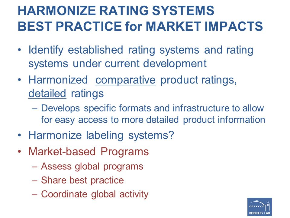 HARMONIZE RATING SYSTEMS BEST PRACTICE for MARKET IMPACTS Identify established rating systems and rating systems under current development Harmonized comparative product ratings, detailed ratings –Develops specific formats and infrastructure to allow for easy access to more detailed product information Harmonize labeling systems.