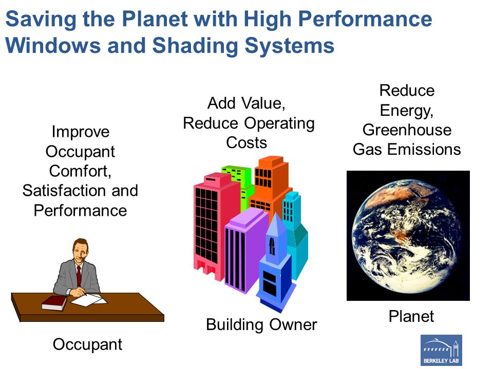 Saving the Planet with High Performance Windows and Shading Systems Improve Occupant Comfort, Satisfaction and Performance Add Value, Reduce Operating Costs Reduce Energy, Greenhouse Gas Emissions Occupant Building Owner Planet