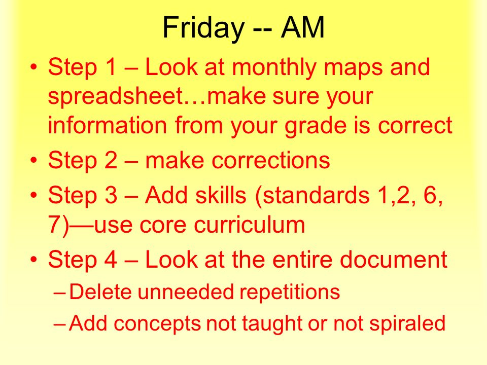 Friday -- AM Step 1 – Look at monthly maps and spreadsheet…make sure your information from your grade is correct Step 2 – make corrections Step 3 – Add skills (standards 1,2, 6, 7)use core curriculum Step 4 – Look at the entire document –D–Delete unneeded repetitions –A–Add concepts not taught or not spiraled