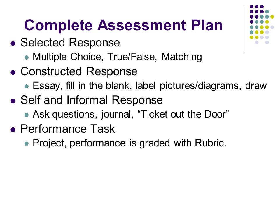 Complete Assessment Plan Selected Response Multiple Choice, True/False, Matching Constructed Response Essay, fill in the blank, label pictures/diagram