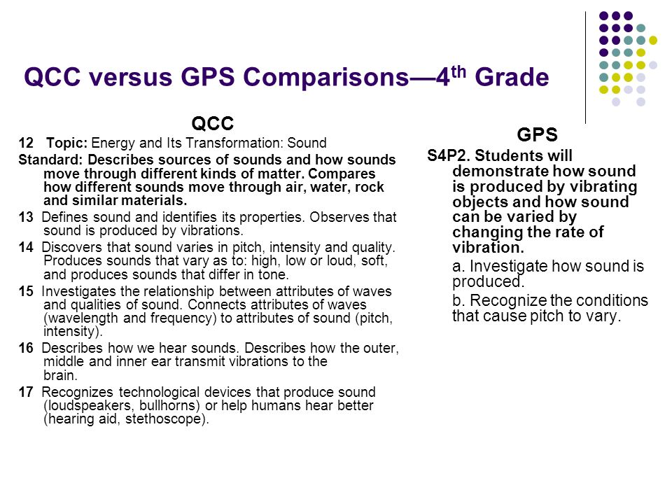 QCC versus GPS Comparisons4 th Grade QCC 12 Topic: Energy and Its Transformation: Sound Standard: Describes sources of sounds and how sounds move thro