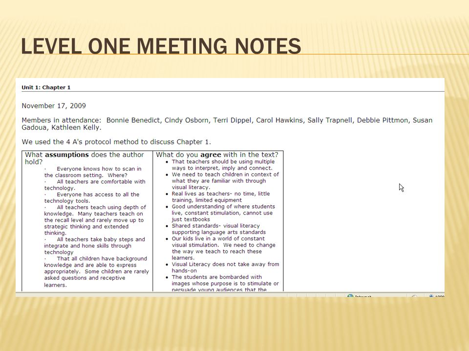 LEVEL ONE MEETING NOTES Snapshots