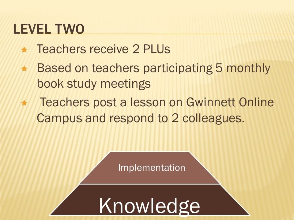LEVEL TWO Teachers receive 2 PLUs Based on teachers participating 5 monthly book study meetings Teachers post a lesson on Gwinnett Online Campus and respond to 2 colleagues.