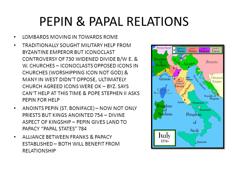 PEPIN & PAPAL RELATIONS LOMBARDS MOVING IN TOWARDS ROME TRADITIONALLY SOUGHT MILITARY HELP FROM BYZANTINE EMPEROR BUT ICONOCLAST CONTROVERSY OF 730 WI