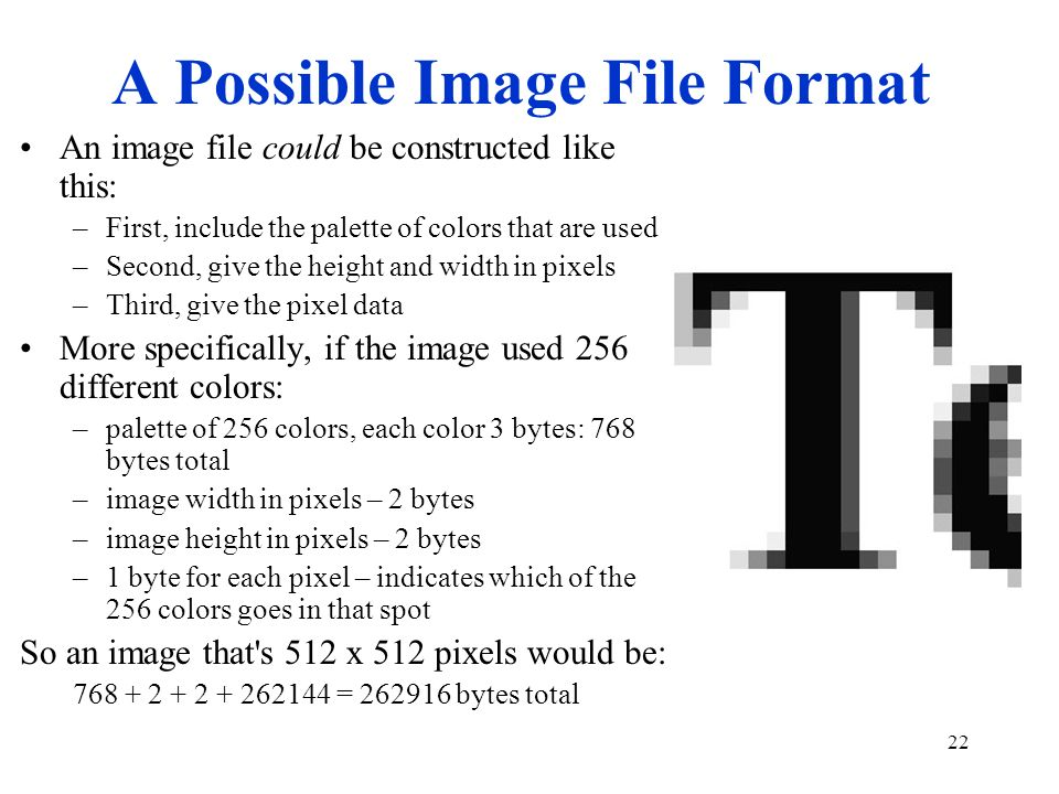 22 A Possible Image File Format An image file could be constructed like this: –First, include the palette of colors that are used –Second, give the he