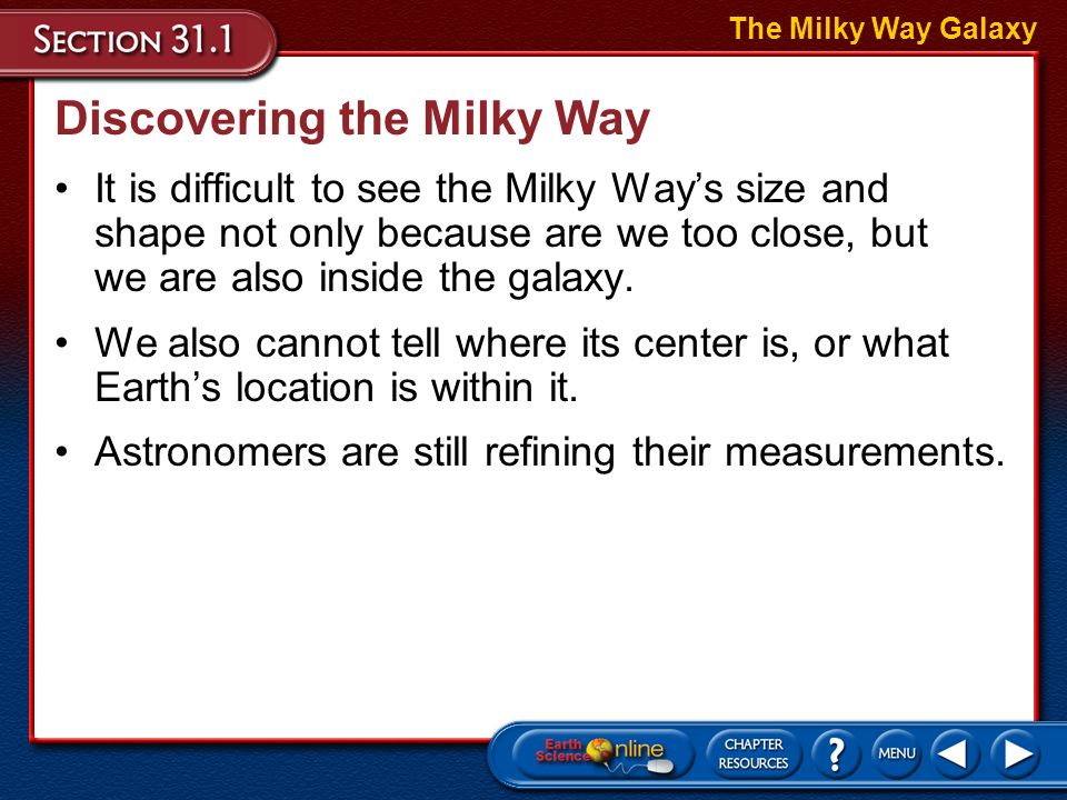 Discovering the Milky Way It is difficult to see the Milky Ways size and shape not only because are we too close, but we are also inside the galaxy.