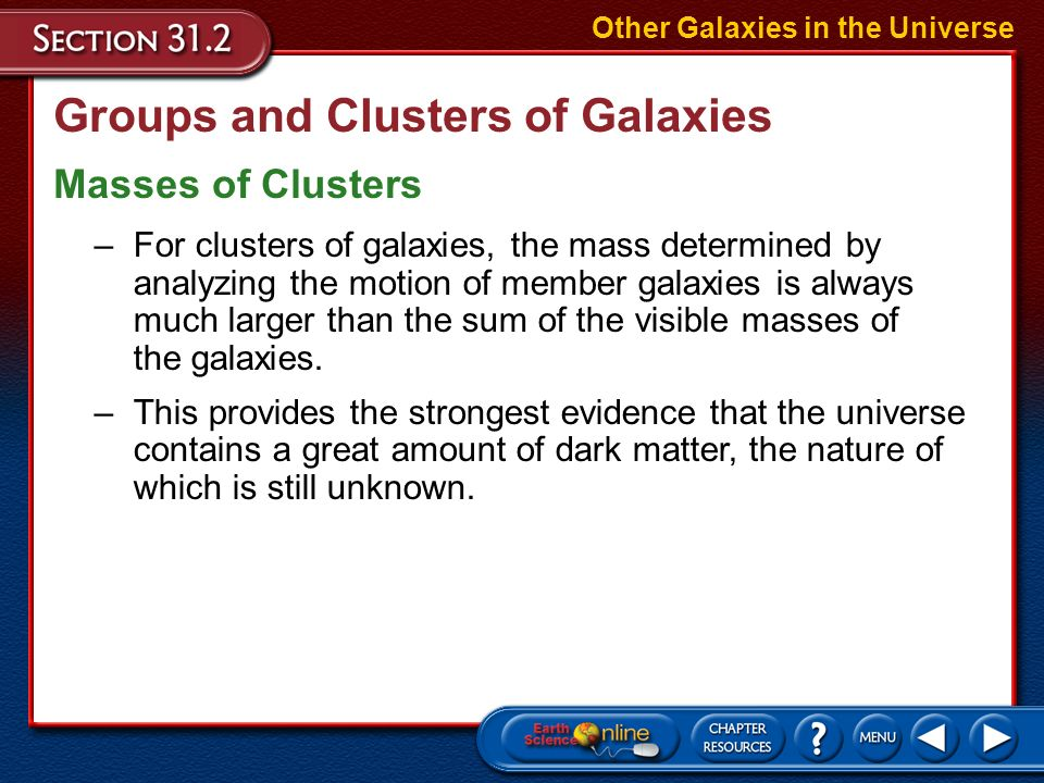 Groups and Clusters of Galaxies Most galaxies are located in groups, rather than being spread uniformly throughout the universe. Other Galaxies in the