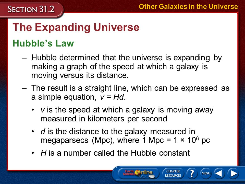 The Expanding Universe In 1929, Edwin Hubble, by measuring the redshifts and distances of many galaxies, found that the farther away from Earth a gala