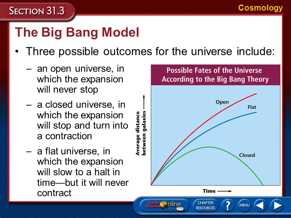 The Big Bang Model In the Big Bang model, there is a competition between the outward momentum of the expansion of the universe and the inward force of