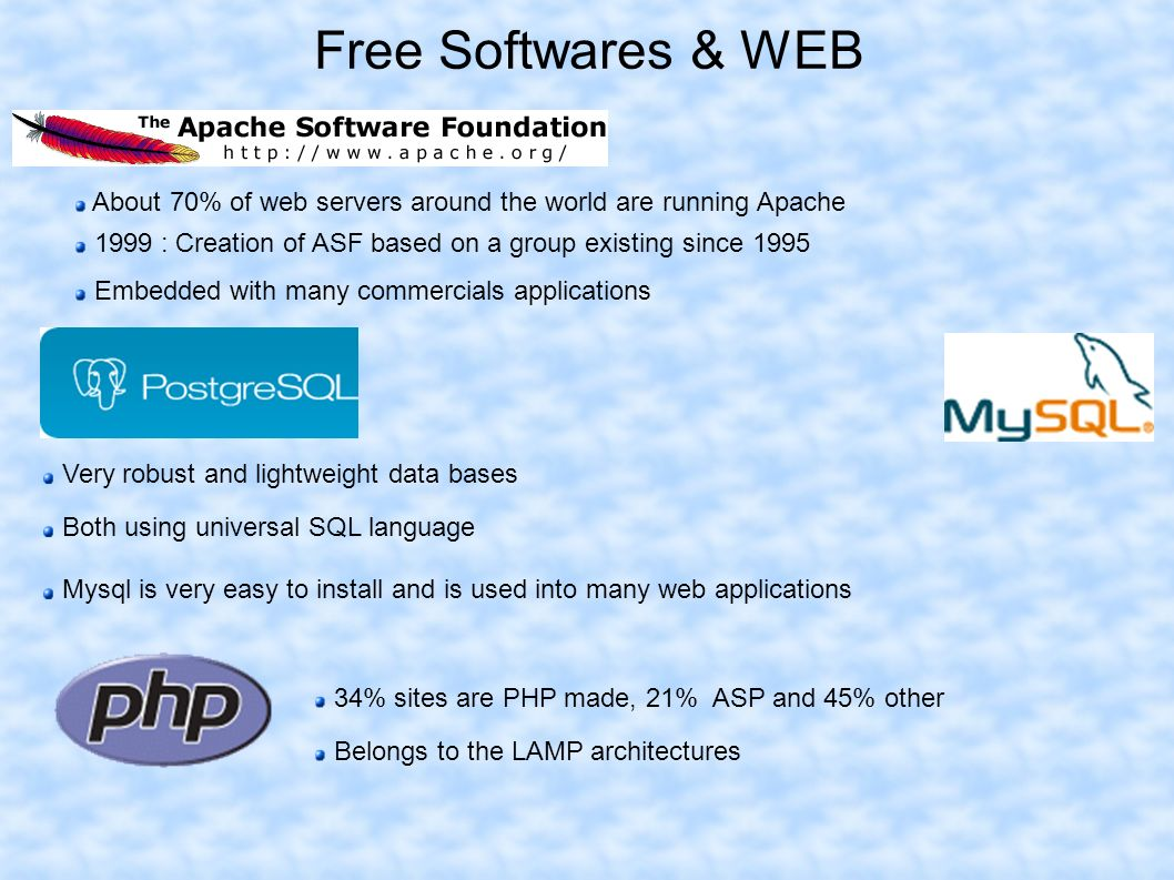 Free Softwares & WEB About 70% of web servers around the world are running Apache 1999 : Creation of ASF based on a group existing since 1995 Embedded with many commercials applications Very robust and lightweight data bases Both using universal SQL language Mysql is very easy to install and is used into many web applications 34% sites are PHP made, 21% ASP and 45% other Belongs to the LAMP architectures