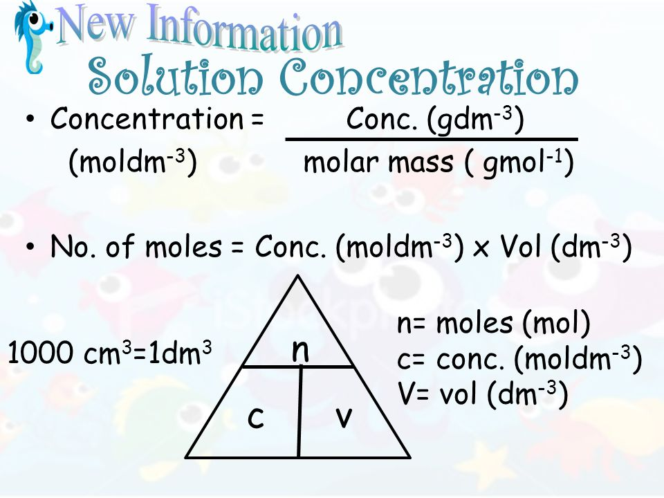 Solution Concentration Concentration = Conc. (gdm -3 ) (moldm -3 ) molar mass ( gmol -1 ) No.