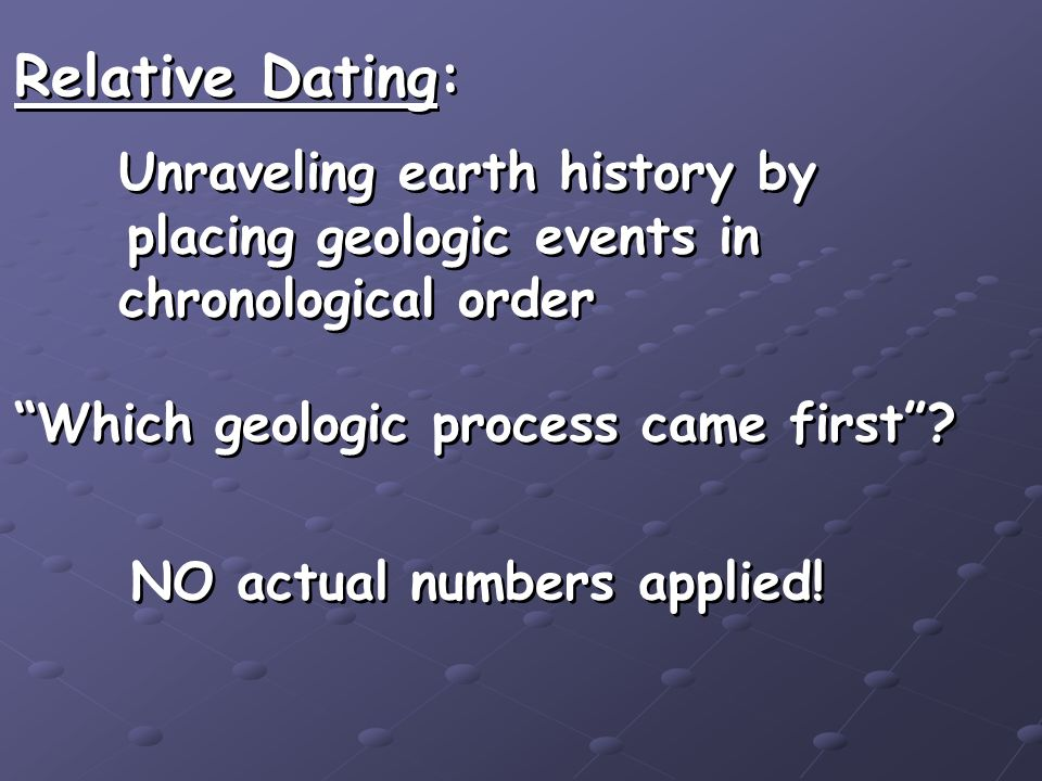 Relative Dating: Unraveling earth history by placing geologic events in chronological order Which geologic process came first? Relative Dating: Unrave