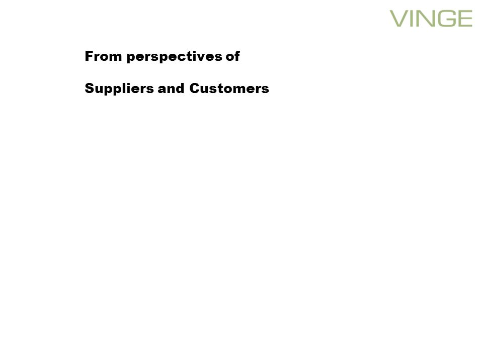 From perspectives of Suppliers and Customers