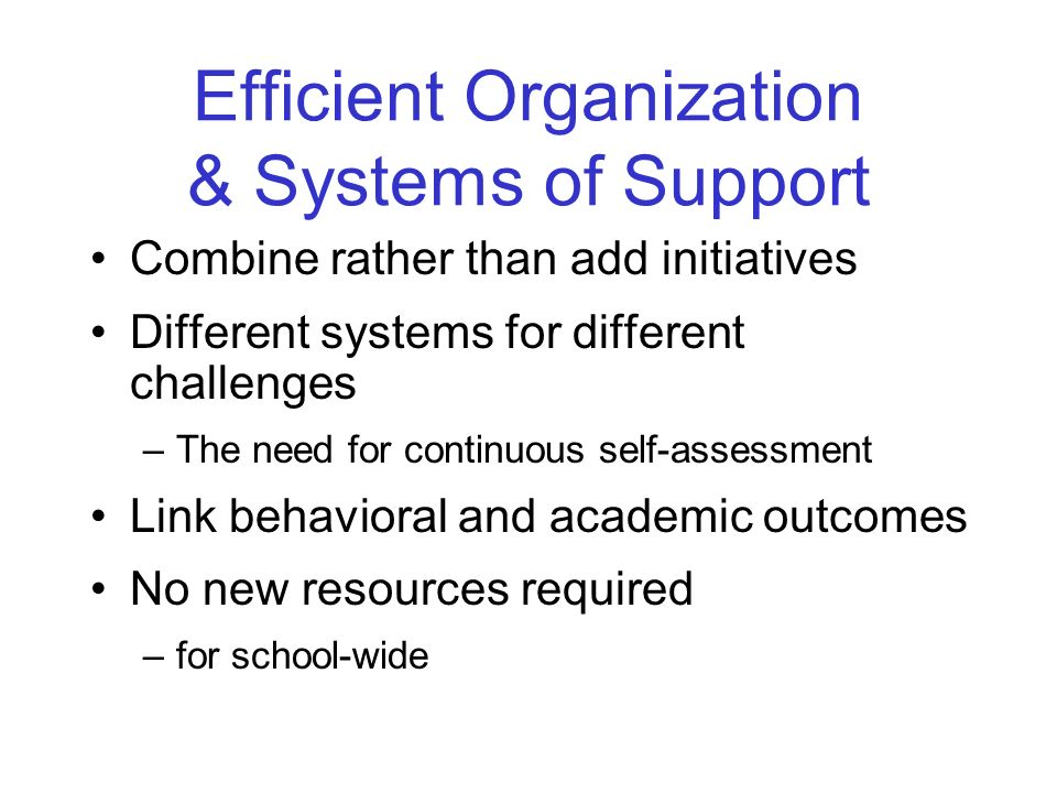 Efficient Organization & Systems of Support Combine rather than add initiatives Different systems for different challenges –The need for continuous self-assessment Link behavioral and academic outcomes No new resources required –for school-wide