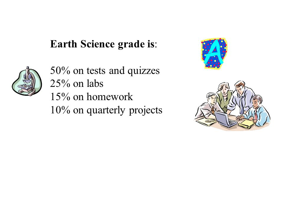 Earth Science grade is: 50% on tests and quizzes 25% on labs 15% on homework 10% on quarterly projects