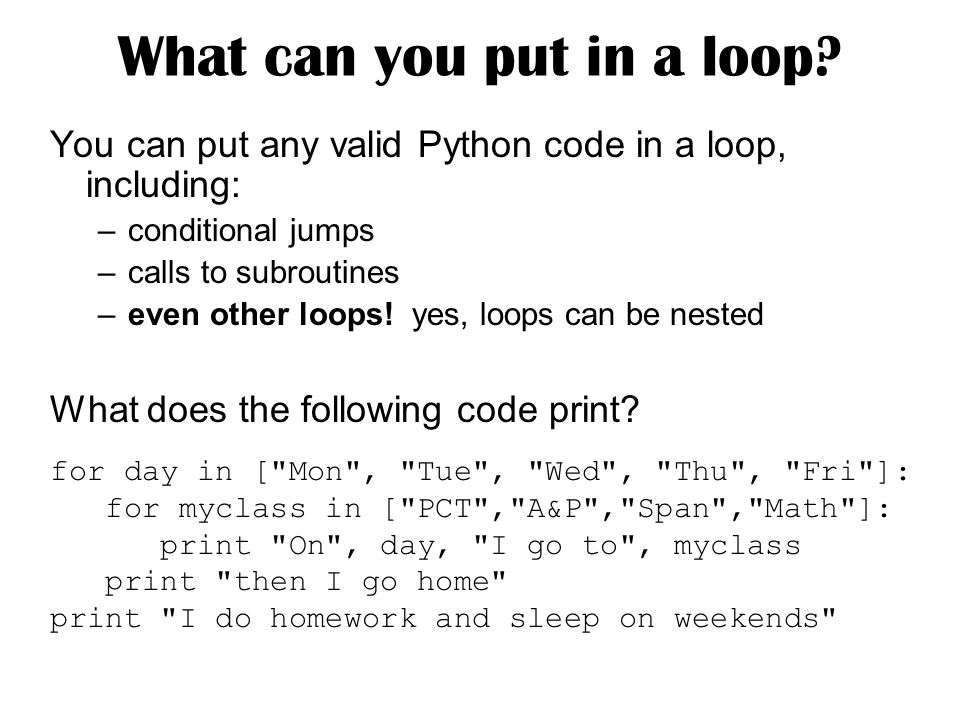 What can you put in a loop.
