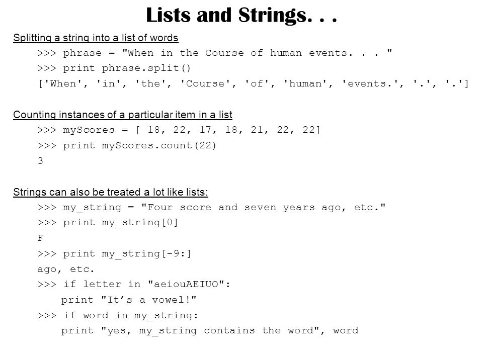 Lists and Strings...