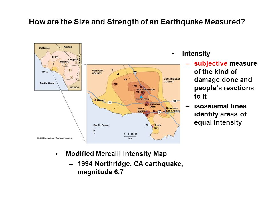 How are the Size and Strength of an Earthquake Measured? Modified Mercalli Intensity Map –1994 Northridge, CA earthquake, magnitude 6.7 Intensity –sub
