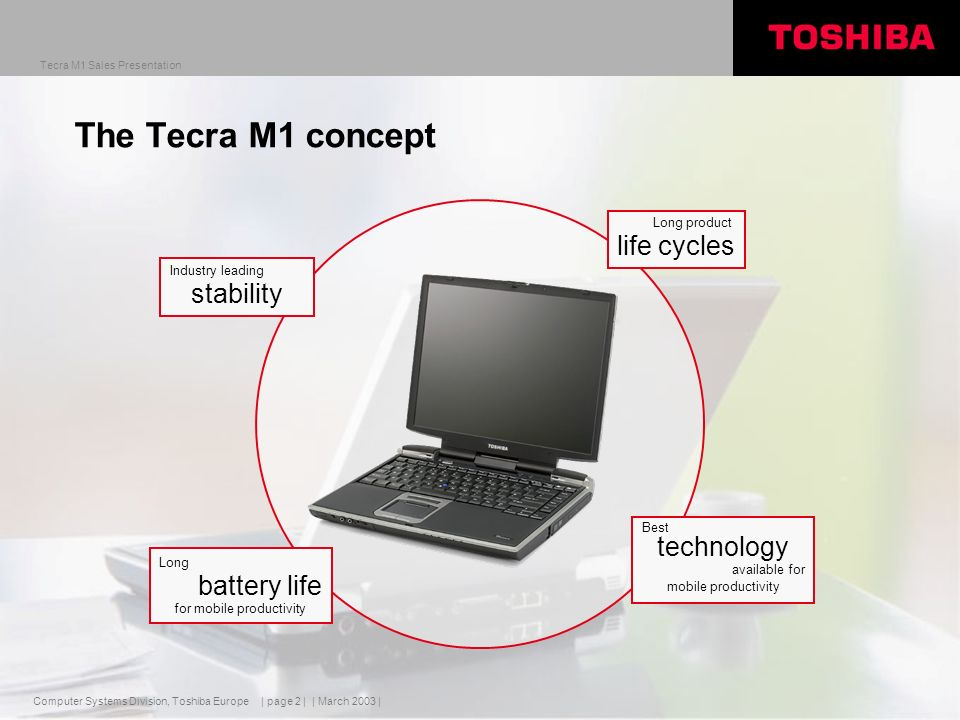 Computer Systems Division, Toshiba Europe Tecra M1 Sales Presentation | March 2003 | | page 2 | Industry leading stability Long product life cycles Best technology available for mobile productivity Long battery life for mobile productivity The Tecra M1 concept