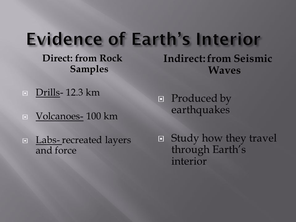 Direct: from Rock Samples Drills- 12.3 km Volcanoes- 100 km Labs- recreated layers and force Indirect: from Seismic Waves Produced by earthquakes Stud