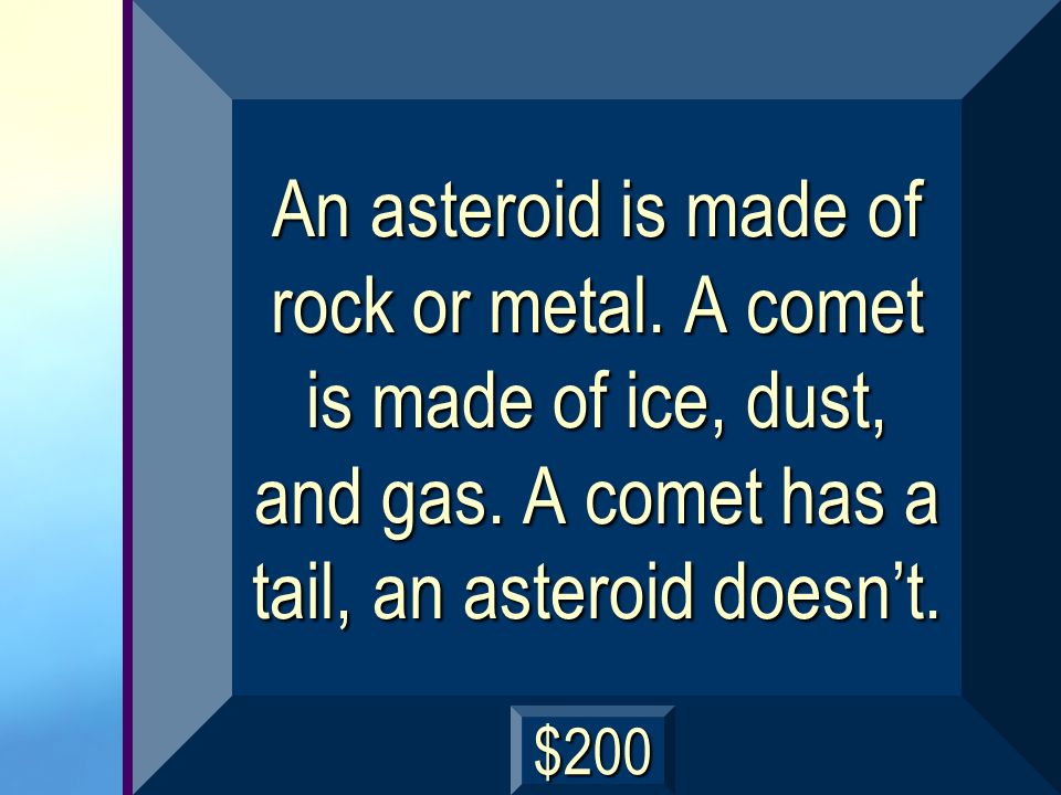 Whats the difference between a comet and an asteroid? next