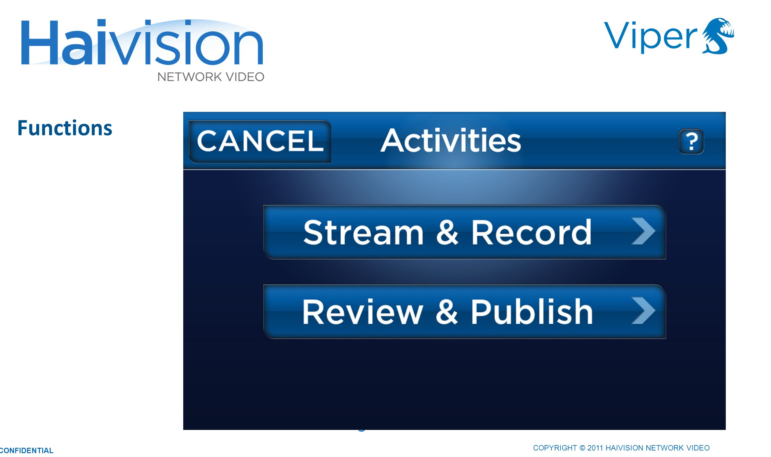 COPYRIGHT © 2011 HAIVISION NETWORK VIDEO CONFIDENTIAL Functions