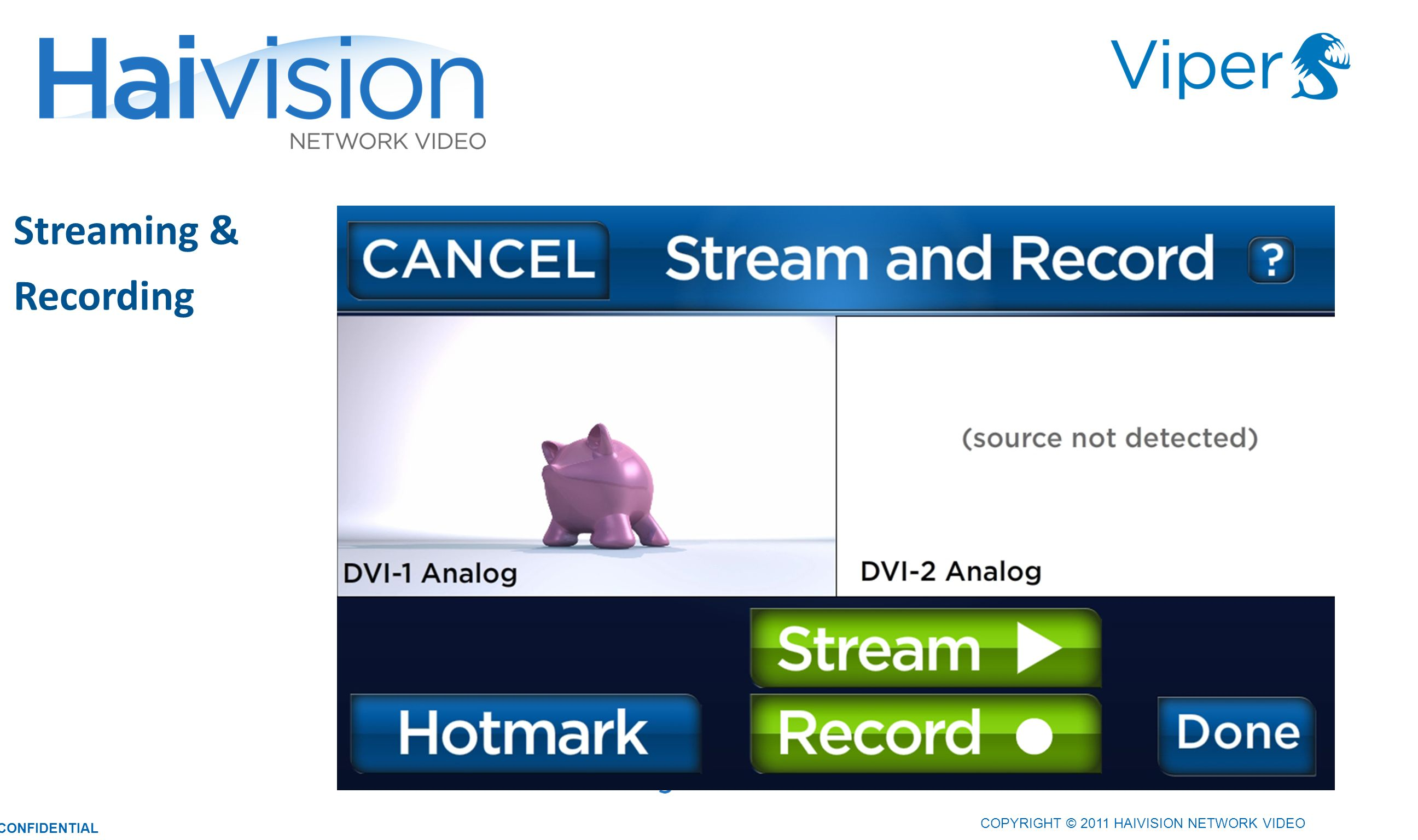 COPYRIGHT © 2011 HAIVISION NETWORK VIDEO CONFIDENTIAL Streaming & Recording