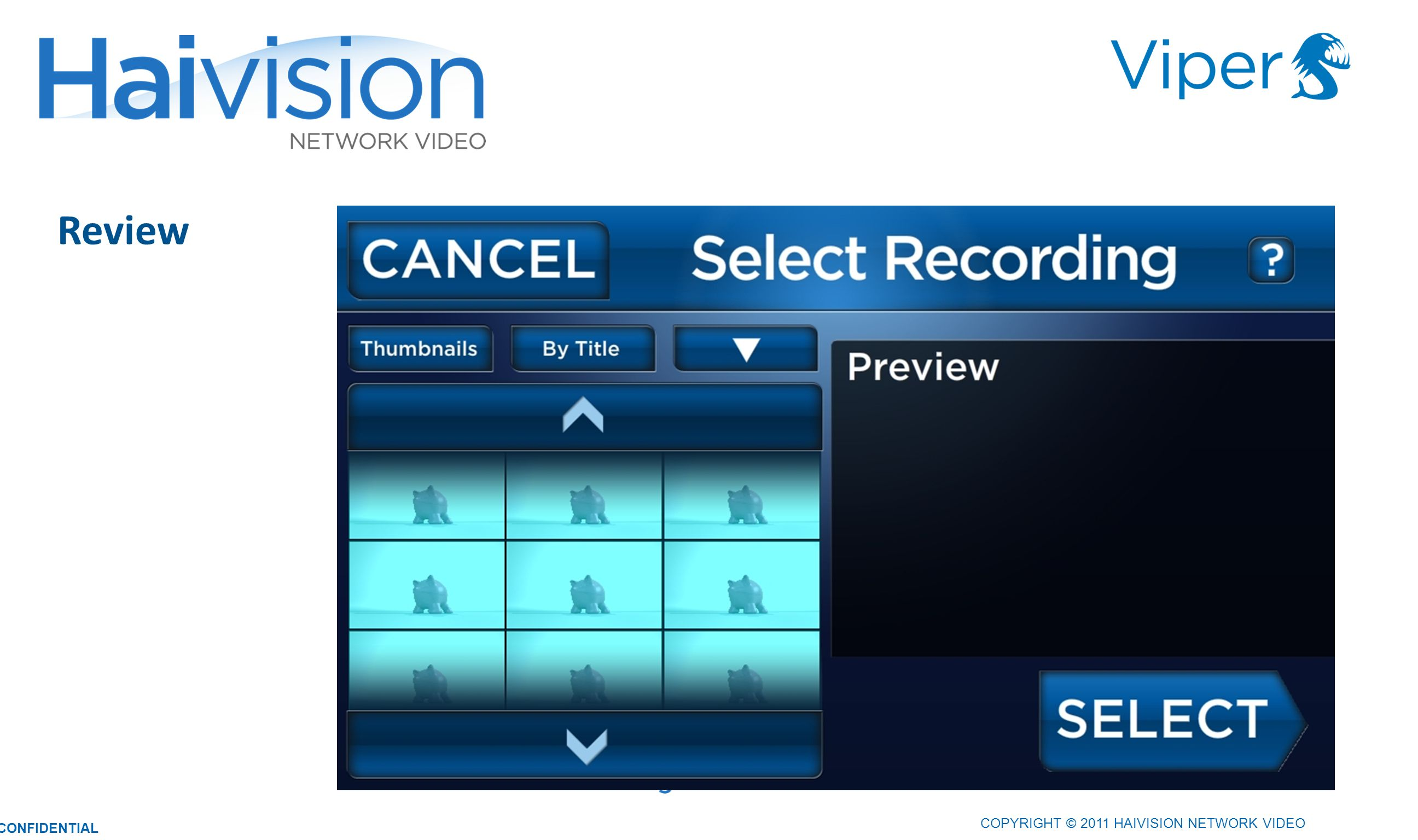 COPYRIGHT © 2011 HAIVISION NETWORK VIDEO CONFIDENTIAL Review