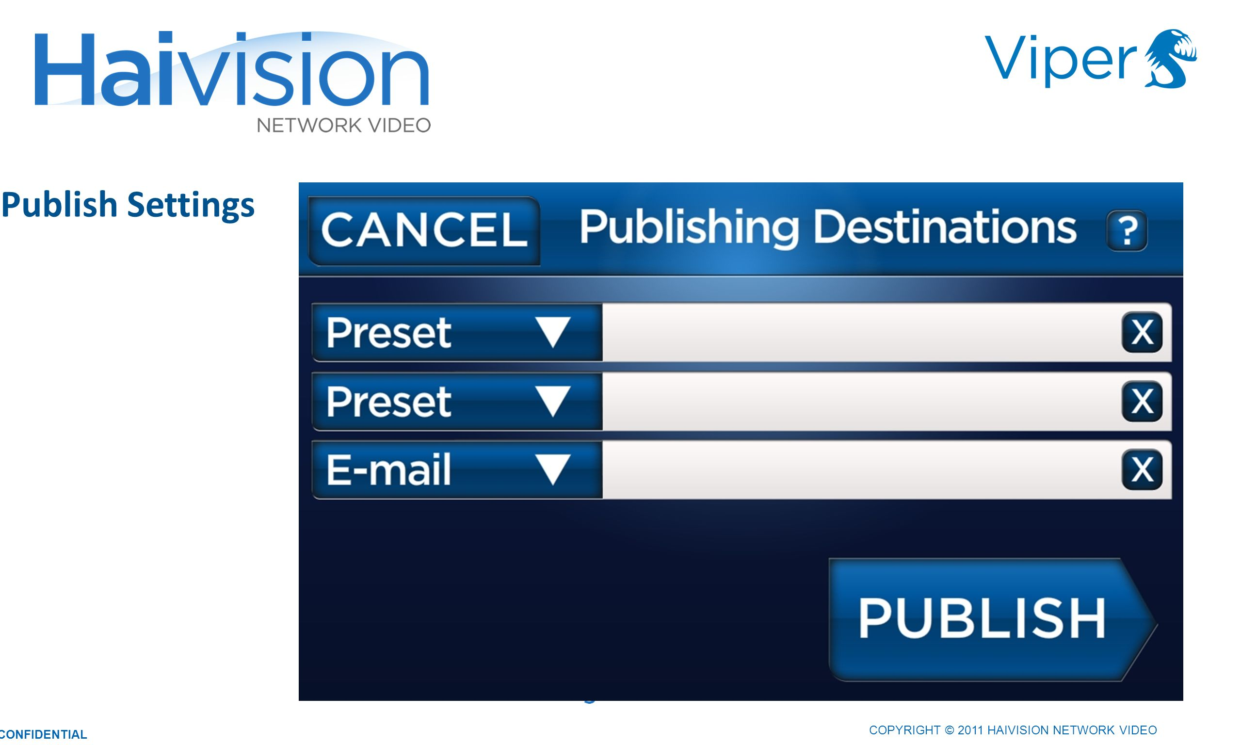 COPYRIGHT © 2011 HAIVISION NETWORK VIDEO CONFIDENTIAL Publish Settings