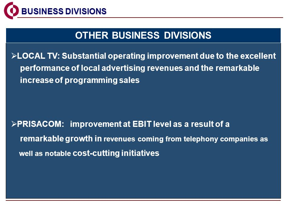 PRISACOM: improvement at EBIT level as a result of a remarkable growth in revenues coming from telephony companies as well as notable cost-cutting initiatives BUSINESS DIVISIONS BUSINESS DIVISIONS OTHER BUSINESS DIVISIONS LOCAL TV: Substantial operating improvement due to the excellent performance of local advertising revenues and the remarkable increase of programming sales