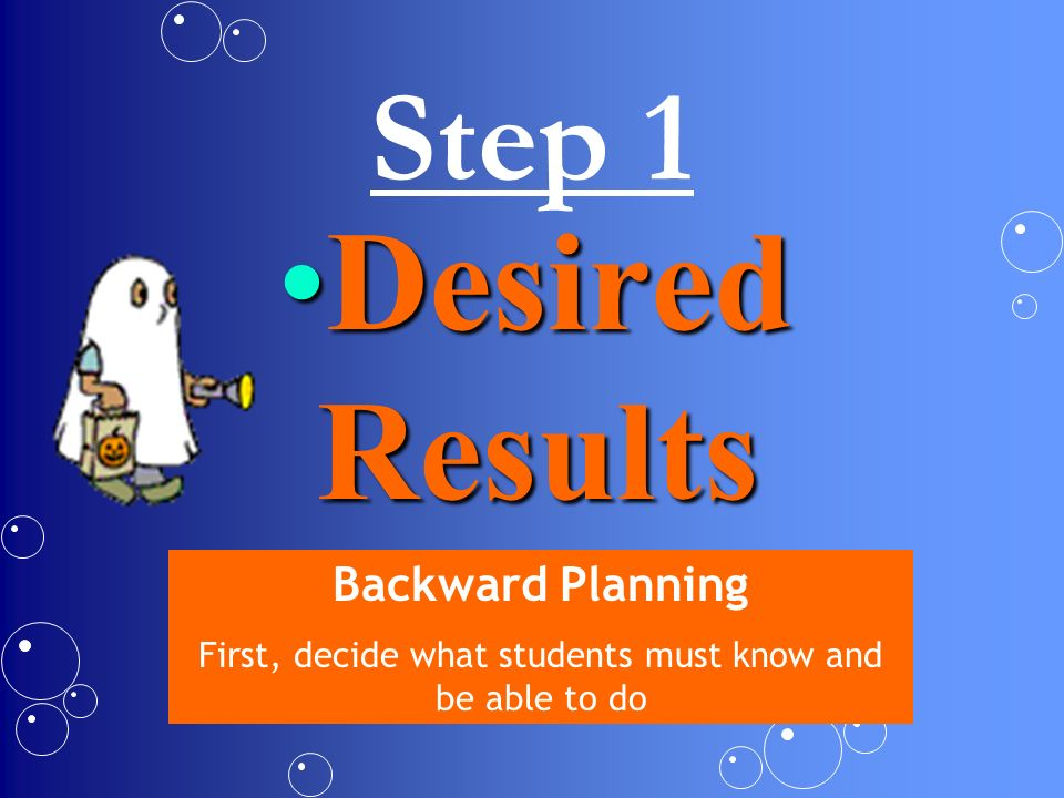 Step 1 Desired ResultsDesired Results Backward Planning First, decide what students must know and be able to do