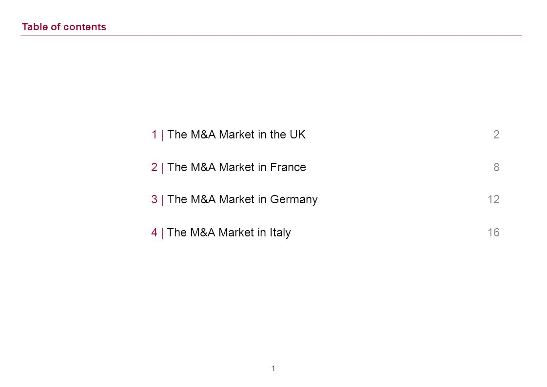 0 European M&A Market Trends Outlook for the UK, France, Germany and Italy May 11th, 2011