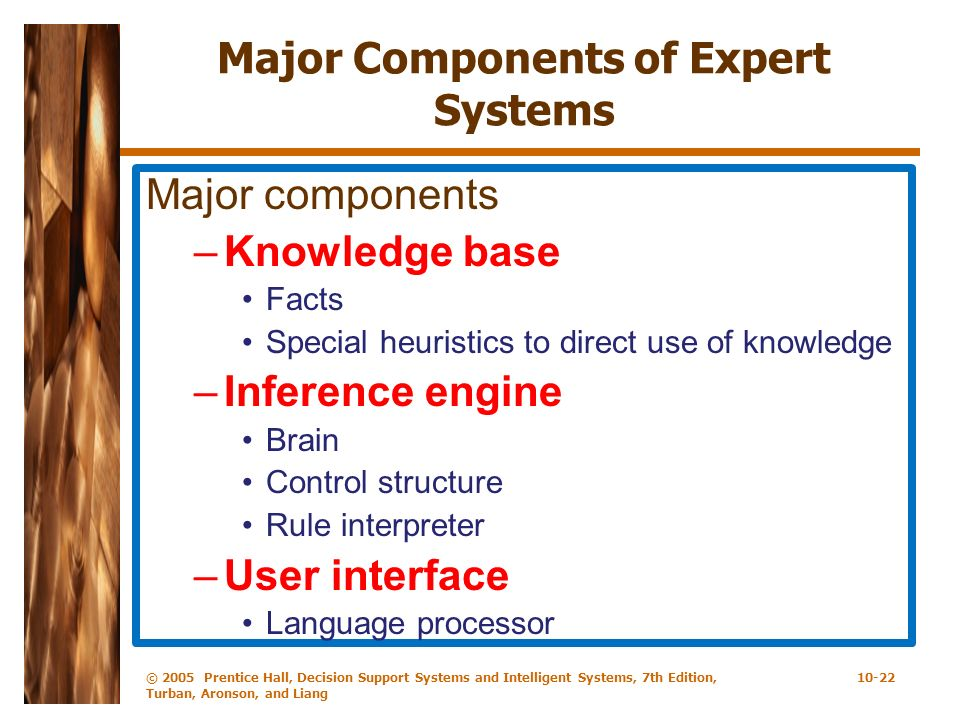 © 2005 Prentice Hall, Decision Support Systems and Intelligent Systems, 7th Edition, Turban, Aronson, and Liang 10-22 Major Components of Expert Syste