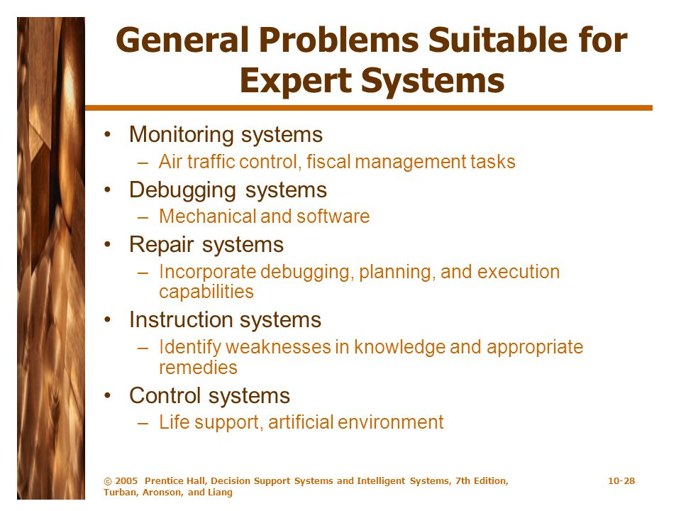 © 2005 Prentice Hall, Decision Support Systems and Intelligent Systems, 7th Edition, Turban, Aronson, and Liang 10-28 General Problems Suitable for Ex