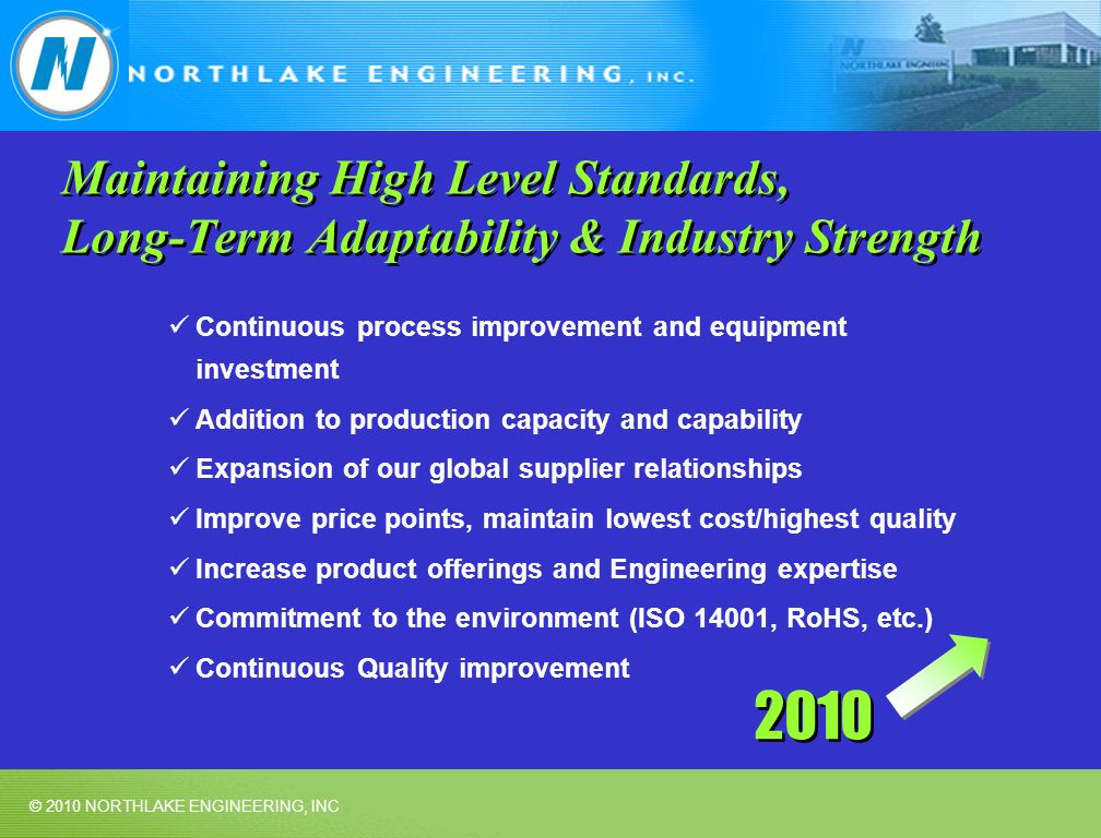 © 2010 NORTHLAKE ENGINEERING, INC Maintaining High Level Standards, Long-Term Adaptability & Industry Strength Continuous process improvement and equipment investment Addition to production capacity and capability Expansion of our global supplier relationships Improve price points, maintain lowest cost/highest quality Increase product offerings and Engineering expertise Commitment to the environment (ISO 14001, RoHS, etc.) Continuous Quality improvement 2010