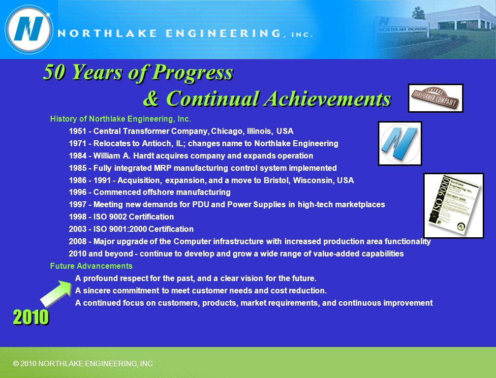© 2010 NORTHLAKE ENGINEERING, INC 50 Years of Progress & Continual Achievements History of Northlake Engineering, Inc. 1951 - Central Transformer Comp