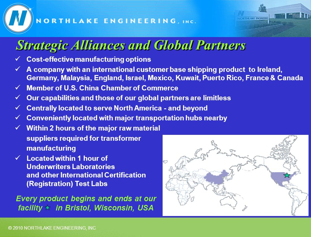 © 2010 NORTHLAKE ENGINEERING, INC Strategic Alliances and Global Partners Cost-effective manufacturing options A company with an international customer base shipping product to Ireland, Germany, Malaysia, England, Israel, Mexico, Kuwait, Puerto Rico, France & Canada Member of U.S.