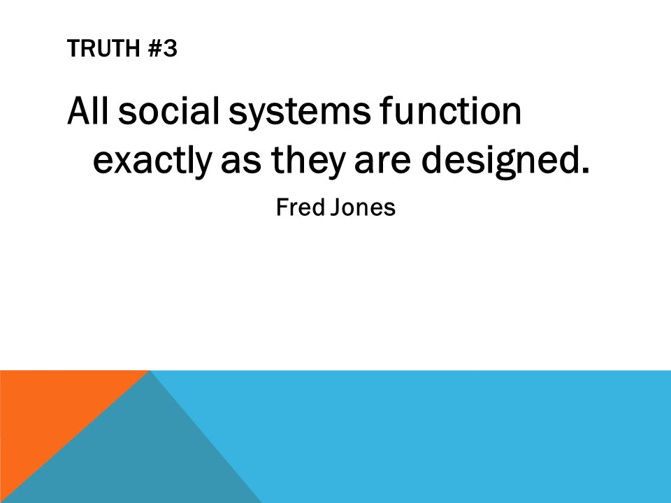 TRUTH #3 All social systems function exactly as they are designed. Fred Jones
