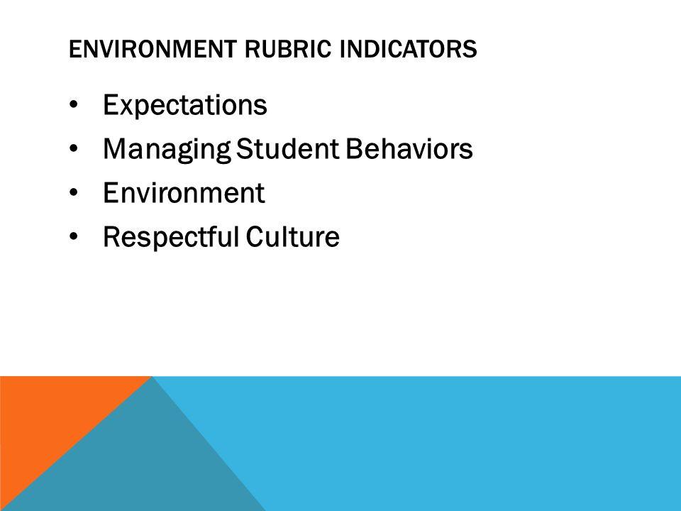 ENVIRONMENT RUBRIC INDICATORS Expectations Managing Student Behaviors Environment Respectful Culture