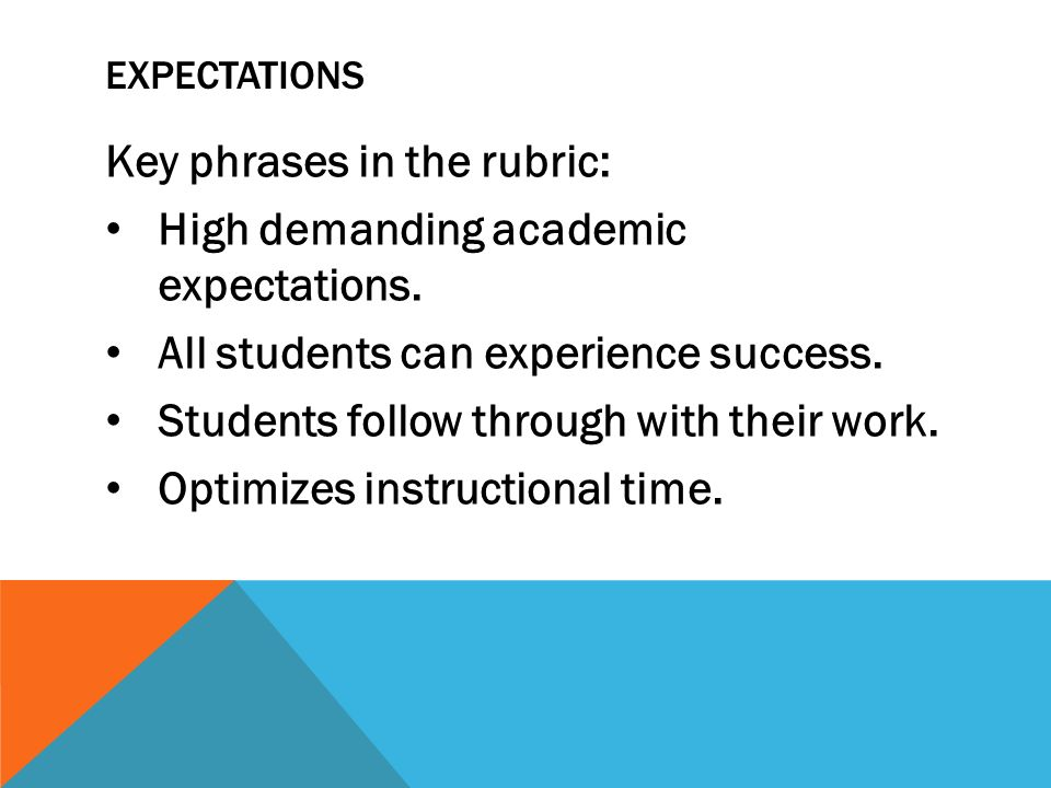 EXPECTATIONS Key phrases in the rubric: High demanding academic expectations. All students can experience success. Students follow through with their