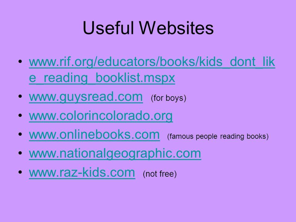 Useful Websites www.rif.org/educators/books/kids_dont_lik e_reading_booklist.mspxwww.rif.org/educators/books/kids_dont_lik e_reading_booklist.mspx www