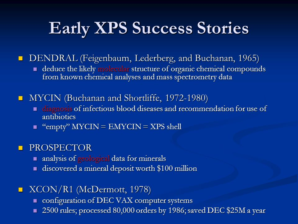 Early XPS Success Stories DENDRAL (Feigenbaum, Lederberg, and Buchanan, 1965) DENDRAL (Feigenbaum, Lederberg, and Buchanan, 1965) deduce the likely mo