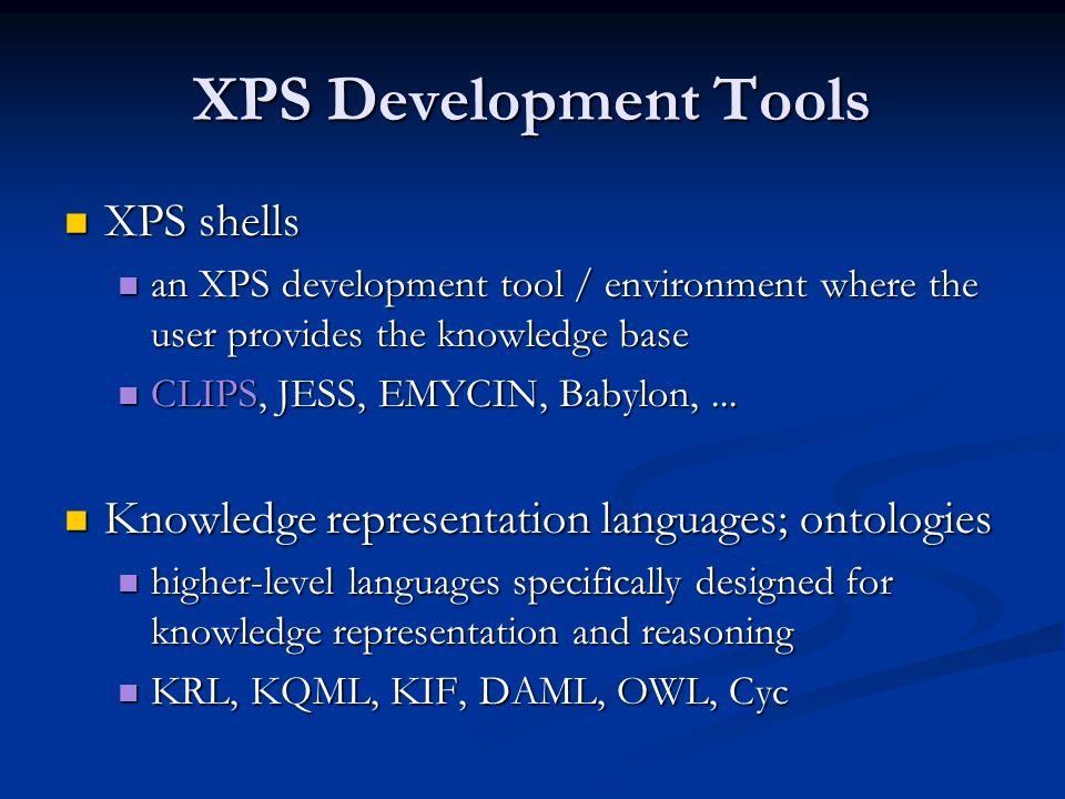 XPS Development Tools XPS shells XPS shells an XPS development tool / environment where the user provides the knowledge base an XPS development tool /