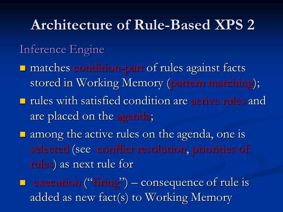 Architecture of Rule-Based XPS 2 Inference Engine matches condition-part of rules against facts stored in Working Memory (pattern matching); matches c