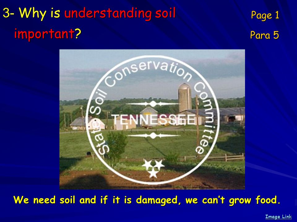 3- Why is understanding soil important? Page 1 Para 5 Image Link Image Link We need soil and if it is damaged, we cant grow food.