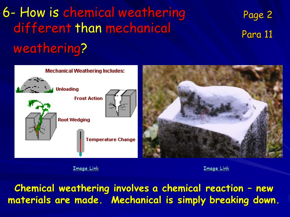 6- How is chemical weathering different than mechanical weathering? Page 2 Para 11 Image Link Image Link Chemical weathering involves a chemical react