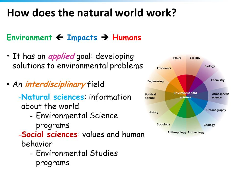 How does the natural world work? Environment Impacts Humans It has an applied goal: developing solutions to environmental problems An interdisciplinar