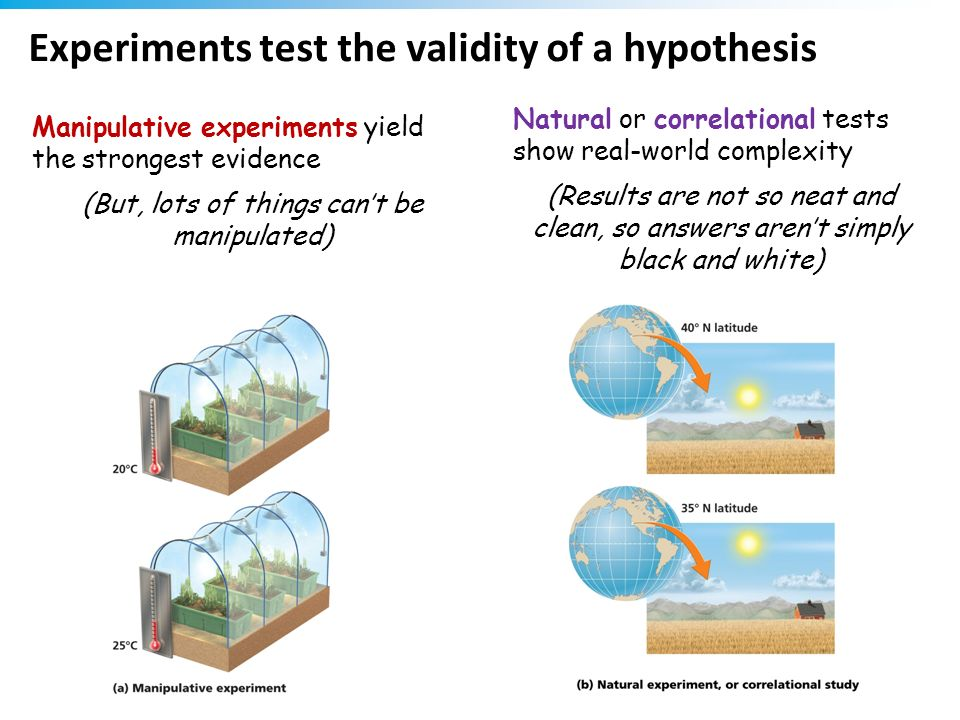 Experiments test the validity of a hypothesis Manipulative experiments yield the strongest evidence (But, lots of things cant be manipulated) Natural