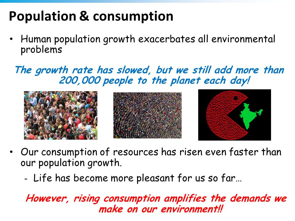 Population & consumption Human population growth exacerbates all environmental problems The growth rate has slowed, but we still add more than 200,000